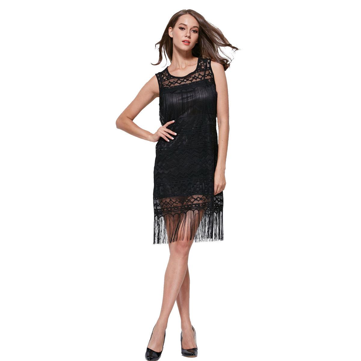 New European and American hook flower sleeveless dress slim lace tassel dress 05