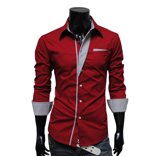 Корейская версия мужской с длинным рукавом тонкий 4 цветные полосы украшенные рубашки и досуг корейца рубашки мужские