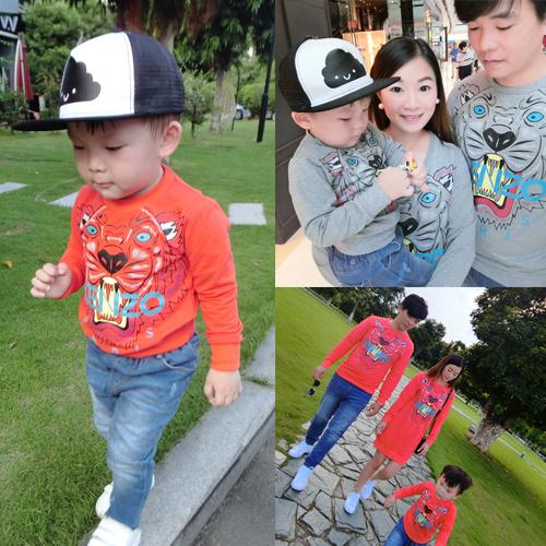 Komori семья с осенью 2015 новое семейство три семьи хлопок t рубашка детей мальчиков свитер
