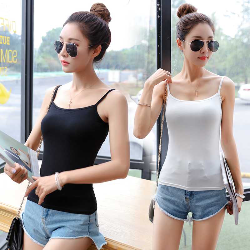 Camisole female summer modal Korean wild outer wear black and white short shirt inside the ride bottoming small halter top