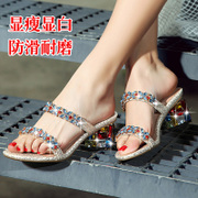 Slippers 2015 summer fashion high heel Sandals designer shoes Bohemian thick leather with Rhinestone flip flops