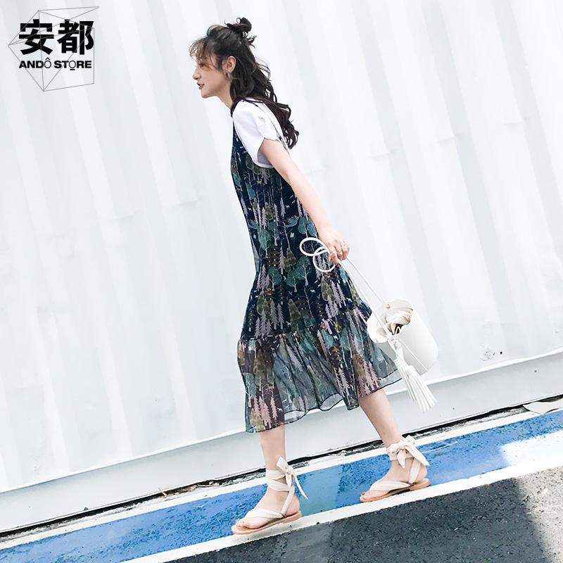 安都碎花吊带连衣裙2018春夏韩版中长款雪纺鱼尾裙女装新款打底裙