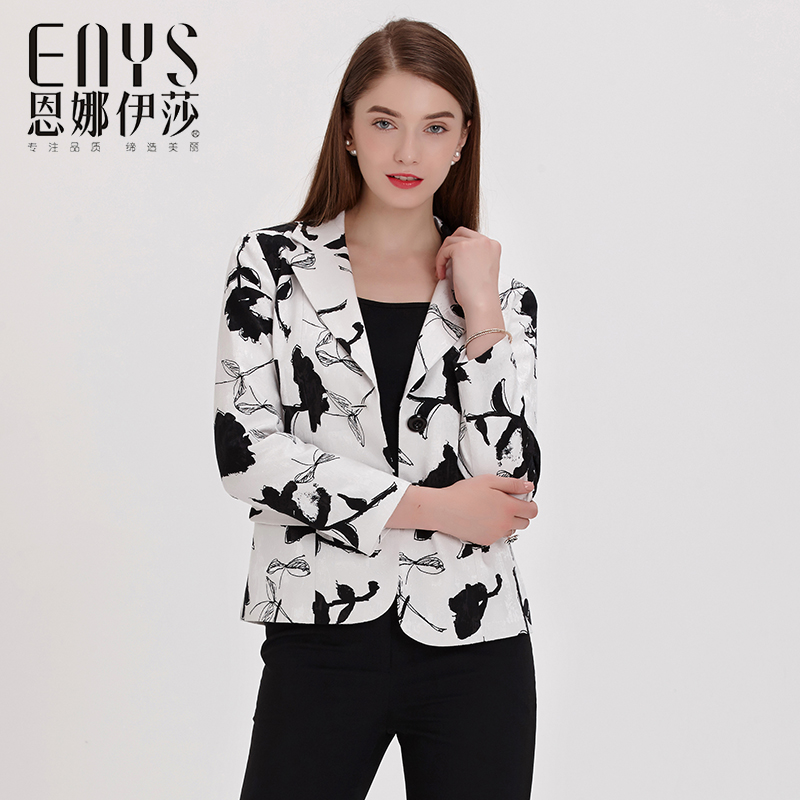 Enna Issas new spring products, slim fit, single breasted ink black and white printing, versatile coat and suit collar