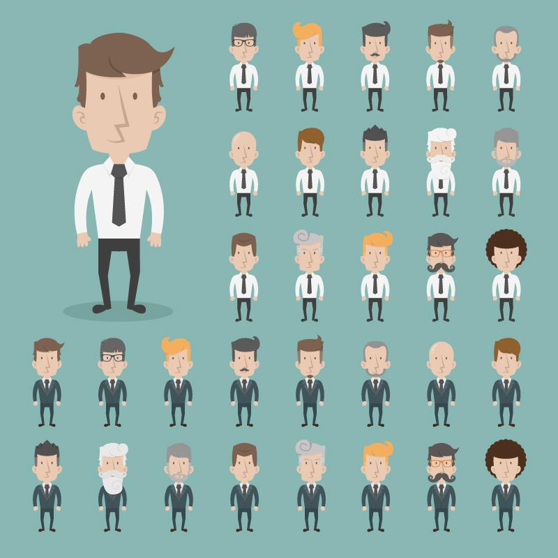 32種類のアニメビジネスマンAIベクトル素材男性ホワイトカラー社員の職場人物デザイン素材