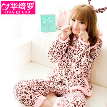 Season and thicken the coral fleece pajamas lady long sleeve winter cartoon woman flannel leisure wear suits