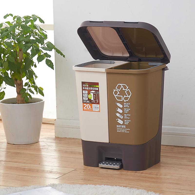 飞达三和脚踏式创意塑料垃圾桶家用大号双桶带盖厨房客厅有盖筒
