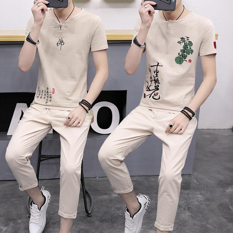 男装套装男士韩版2018新款运动男潮流帅气衣服休闲装社会小伙夏季