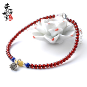 Family wine red garnet anklet across the East China Sea Thai silver anklet jewelry lapis lazuli honey wax woman year