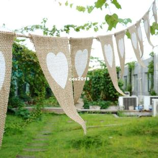 Decor Bunting white Heart 12PcsSet Fabric Party Banner Jute
