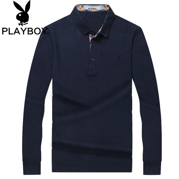 Playboy men's spring long-sleeved t-shirt Spring 2016 new men's cotton POLO shirt lapel Qiuyi