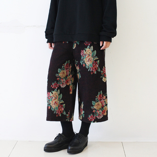 Short plush wool woven flowers retro wide leg culottes