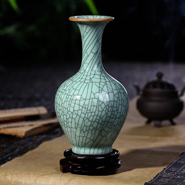 景德镇陶瓷器仿古冰片裂纹釉花瓶花插复古中式古典客厅装饰品摆件