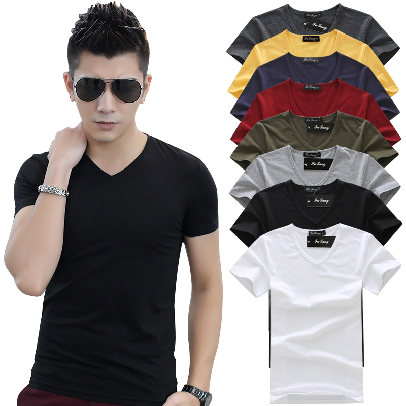 Summer mens solid t-shirt mens slim fit V-neck half sleeve t-shirt mens bottom shirt mens large sports top