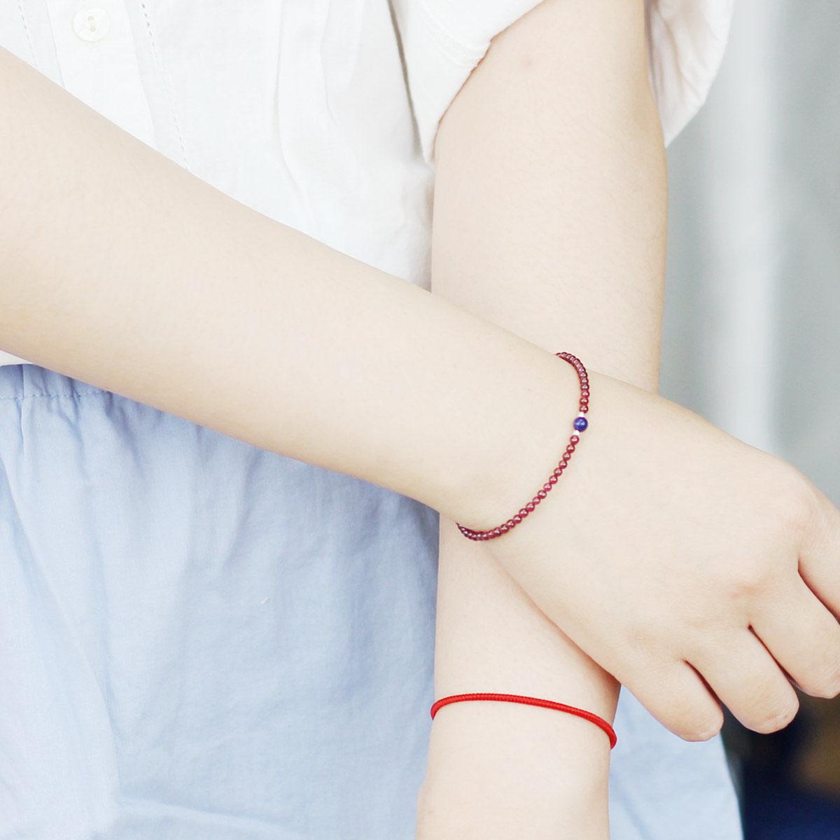 Фиолетовый зуб черный розовый красный гранат браслет женщина круг хорошо ляпис 925 серебро 925 пробы женщина камень страхование спокойствие