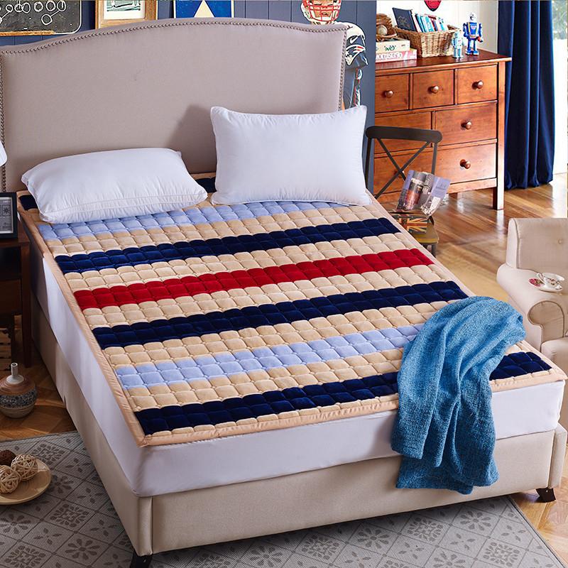 鼎帛法兰绒小方格保暖床垫学生榻榻米床褥床垫