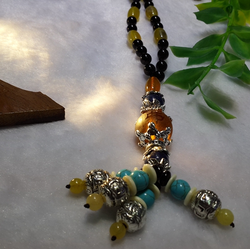 Chain belt with silk, jade pulp necklace, frosted Topaz crystal pendant, yellow jade inlaid with pure silver pendant, attracting money and transferring men and women