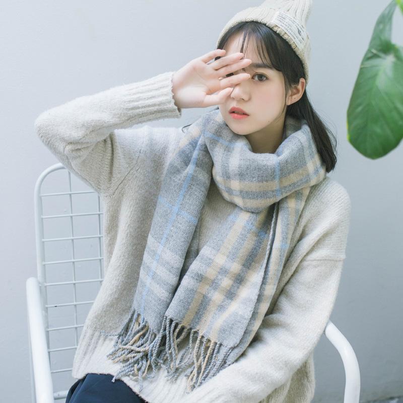 秋 韓國圍脖格子流蘇大披肩女日係文藝學生情侶加厚長毛線圍巾