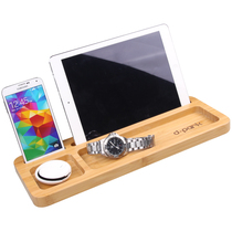 Dpark Bamboo Mobile phone flat bracket Stationery Pen Storage Note seat Desktop creative wooden tray storage base