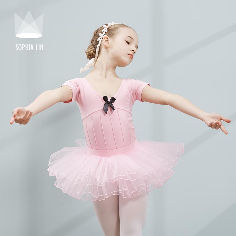 尚品琳夏季儿童舞蹈服女童分体芭蕾舞纱裙练功服女孩体操演出服装