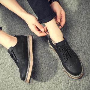秋季潮鞋男鞋复古布洛克男士休闲鞋冬季棉鞋子潮流男板鞋英伦皮鞋