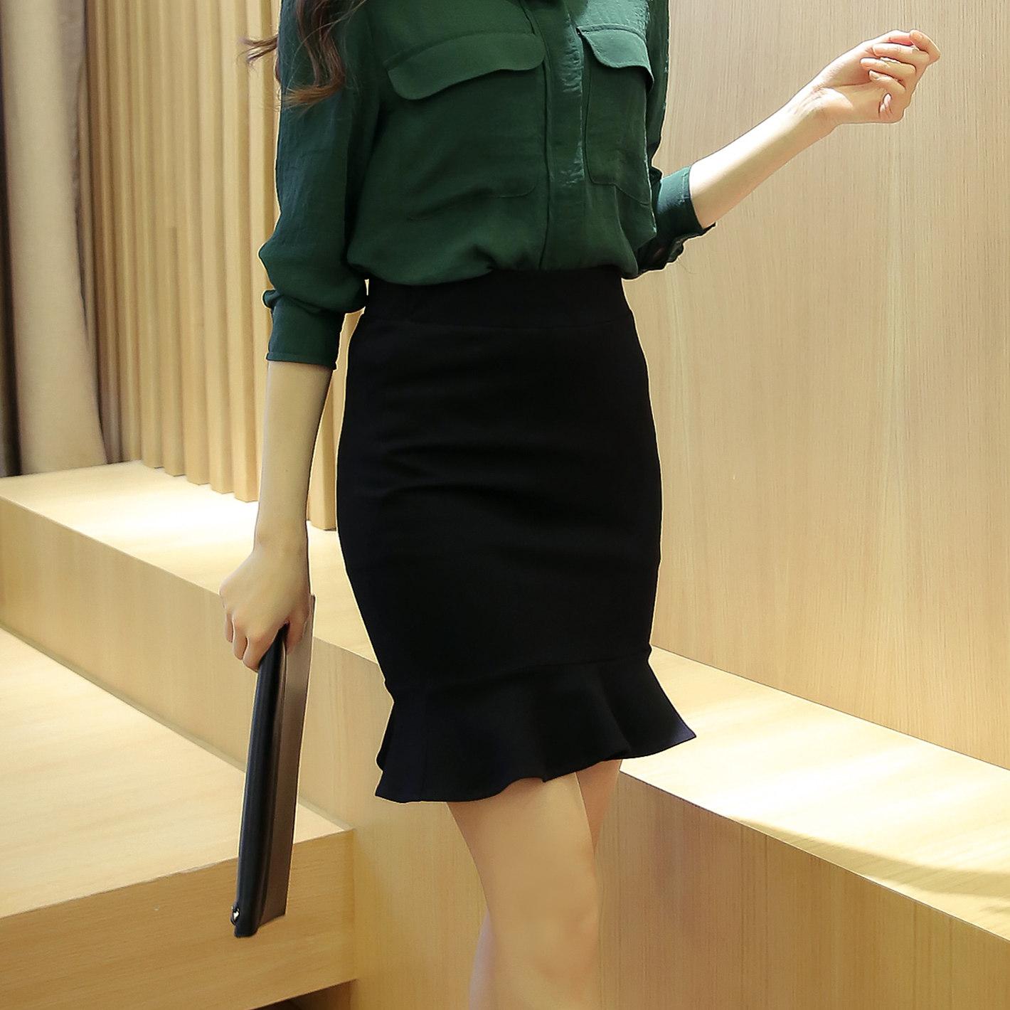 包臀裙黑色半身裙秋短裙半裙中裙女一步裙裙子包裙 魚尾裙