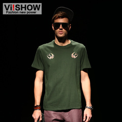 Viishow men's short sleeve t-shirt men new men's tide printing plain Army Green Ralph Lauren short sleeve t-shirt