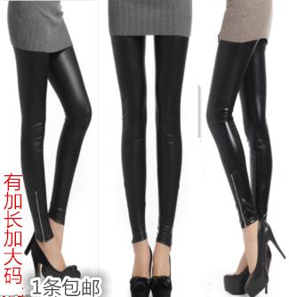 Весна кожаные леггинсы носить азиатские света, тонкие кожаные штаны кожи стороны молнии короткие брюки стрейч и женщин больше для увеличения