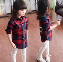 In 2015 autumn outfit grid leisure long lapel shirt long sleeve shirt of the girls
