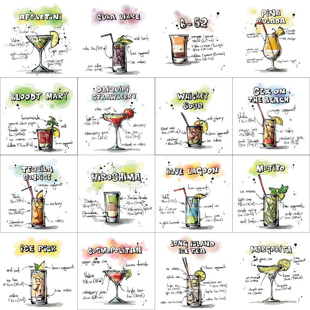 25个EPS手绘风饮品酒吧饮料鸡尾酒柠檬茶矢量图插图菜单设计素材