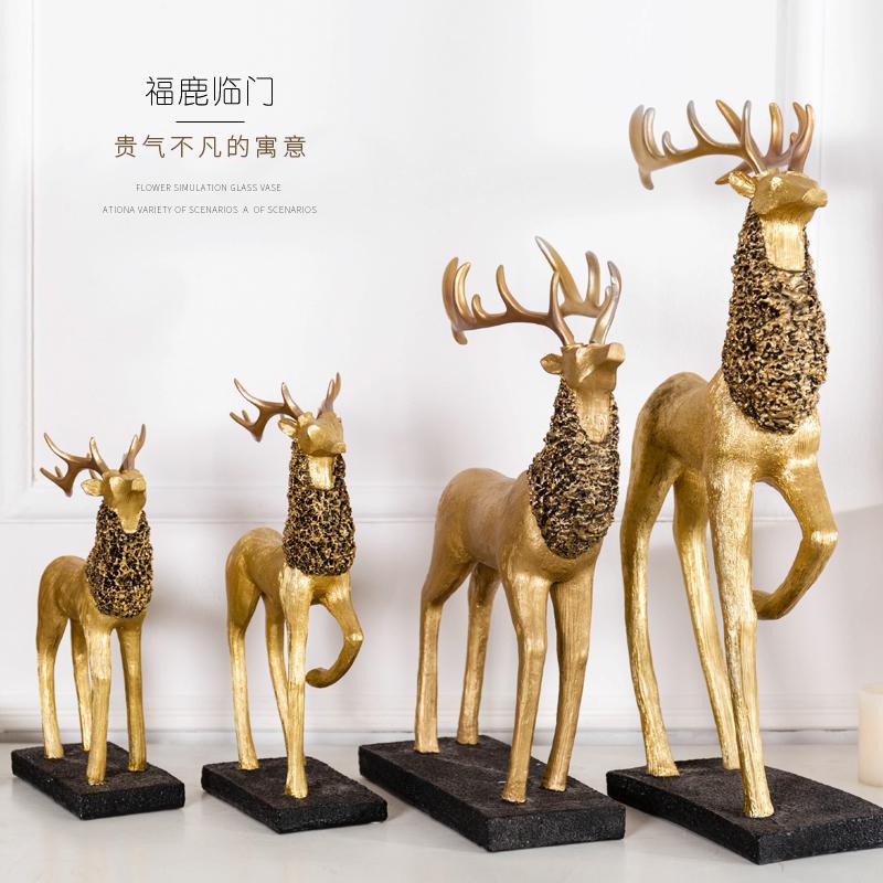 创意家居饰品摆件树脂麋鹿小摆设钟爱一生情侣鹿酒柜餐厅装饰礼物