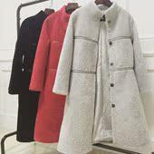 2017新款羊剪绒进口羊羔毛皮草皮毛一体外套女中长款修身大衣冬装