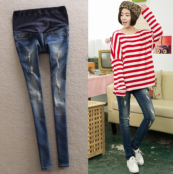 Корейские осенью отверстие в брюки для беременных моды женщин джинсы желудка подъемник Брюки Брюки Весна беременных женщин с связанные ноги горячей мама джинсы
