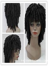 Foreign trade wig length curly wig in male spiral perm Cover the face black fluffy handsome wig COS in Europe and America