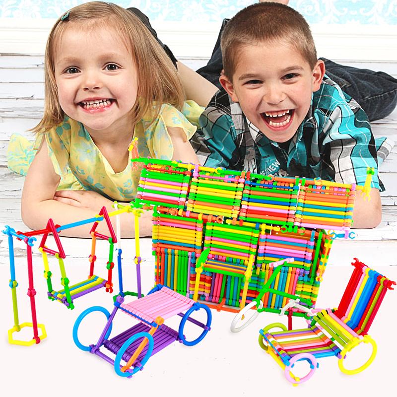Пластик строительные блоки ребенок игрушка мальчик головоломка собранный девушка 1-2-3-6 полный год 4 лет 10 умный строительные блоки палка