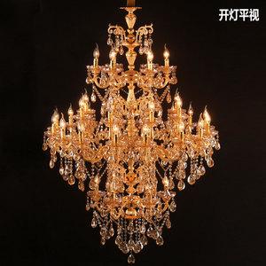 欧式蜡烛水晶吊灯餐厅客厅大型工程酒店复式楼中楼梯跃层吊灯8531