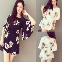 The new summer 2015 han edition printed chiffon ruffled skirt restoring ancient ways female loose thin high-waisted dresses with short sleeves