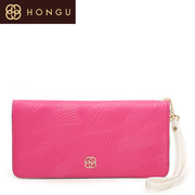 Honggu counters authentic 2015 red Valley classic leaf pattern hand bag leather clutch 1211