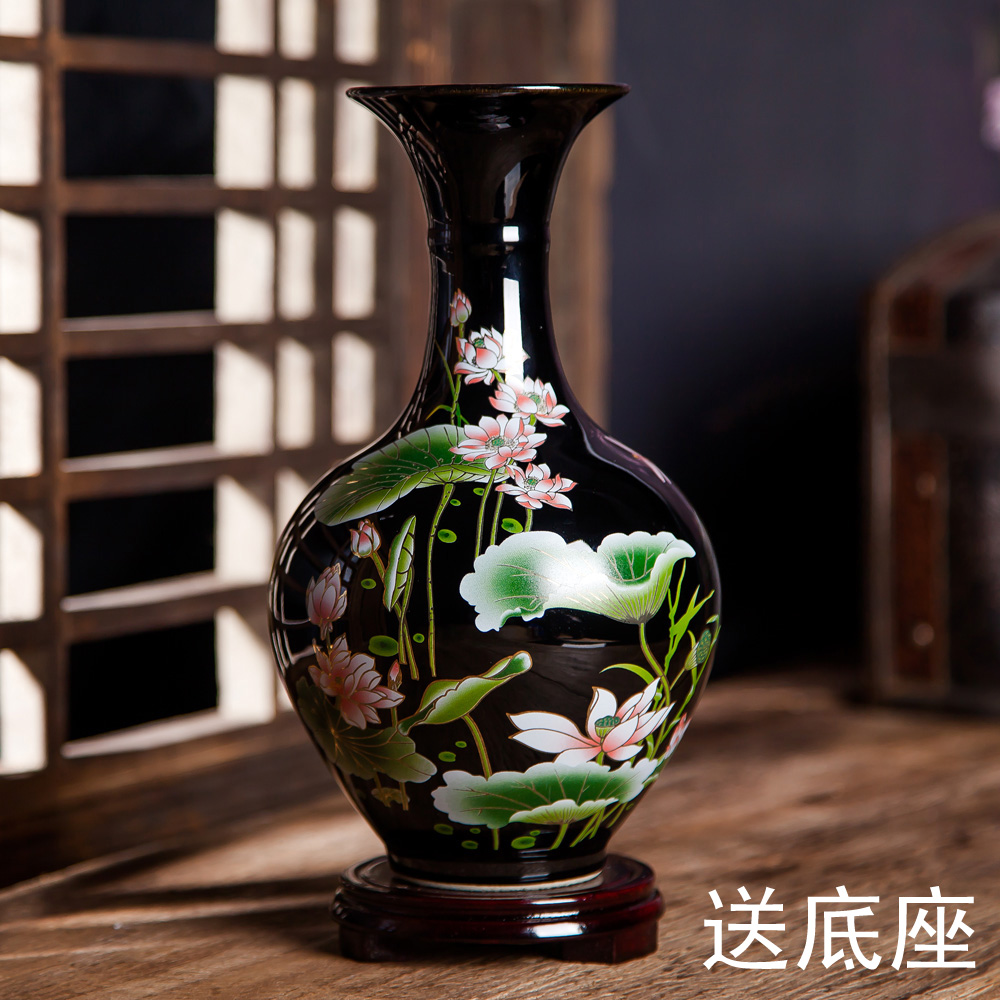 景德鎮陶瓷器粉彩荷花烏金釉花瓶 家居客廳裝飾工藝品擺件
