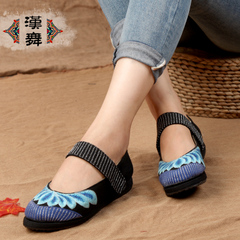 Chinese dance authentic old Beijing cloth shoes with Velcro strap girls elegant embroidered shoes retro light flat shoes Susan