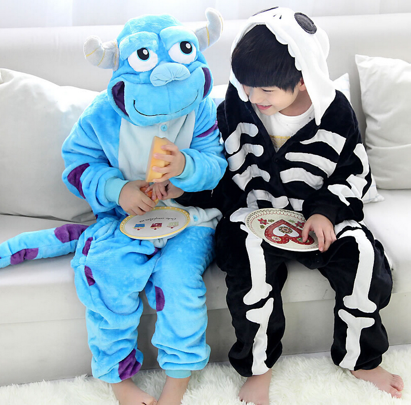 Maoguai skeleton childrens one-piece pajamas boys and girls childrens suit performance cartoon animal one-piece suit for Halloween