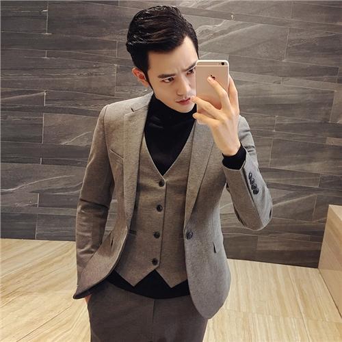春夏季韩版男士修身一粒扣小西装套装发型师西服三件套新伴郎礼服
