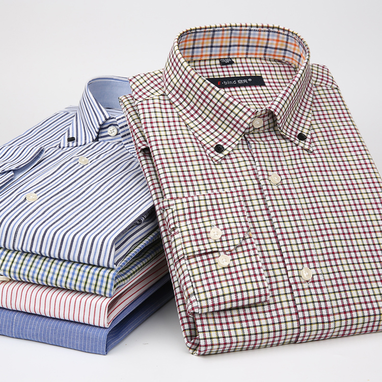 意宾 纯棉男士春季白衬衫纯色商务春装 青年修身长袖衬衣英伦男装