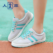 People fall 2015 new canvas female colour matching athletic running shoes current students with flat bottom shoes