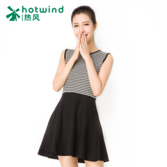 Hot spring and fall/winter new style ladies stripe sleeveless dress Korean self slim a-skirt 19H5709