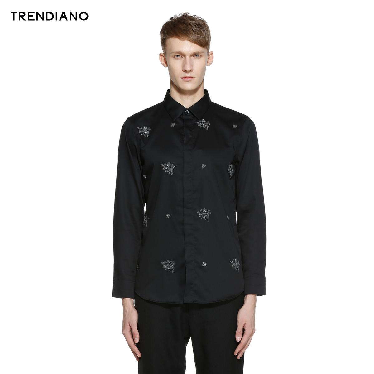 TRENDIANO新男裝春裝潮 純棉釘珠長袖襯衫襯衣3151012010
