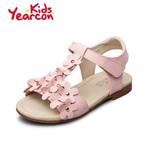 意尔康童鞋2017夏季女童凉鞋魔术贴花朵软底宝宝甜美公主鞋防滑