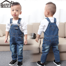 The 1-2-3 - year - old 4 male baby denim overalls fall male children children boy child autumn clothes denim pants