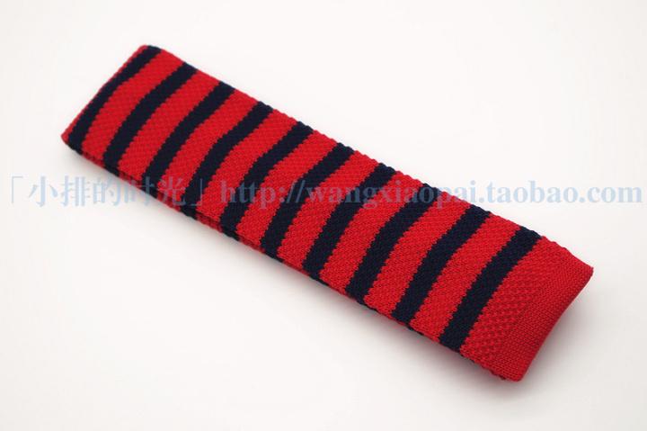 中國代購|中國批發-ibuy99|领带|小排的时光 大红与藏蓝条纹 针织平头 窄领带 男士 韩版  海军风