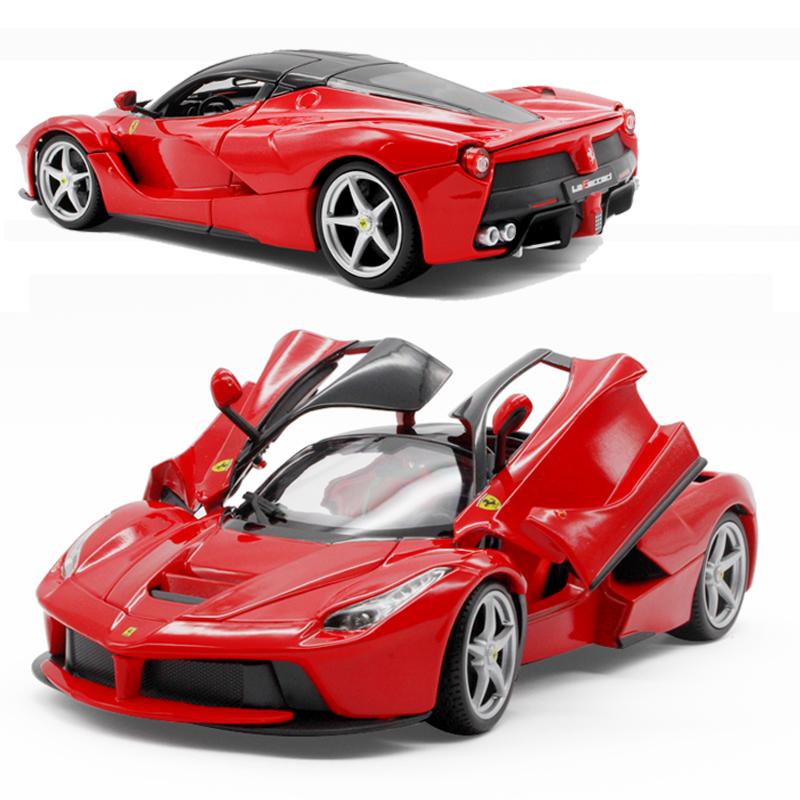 比美高合金车模1 18法拉利红色拉法仿真玩具跑车模型礼物摆件