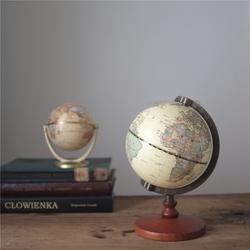 推荐 复古怀旧黄色中英文版万向地球仪摆件 地图书房装饰精美礼品